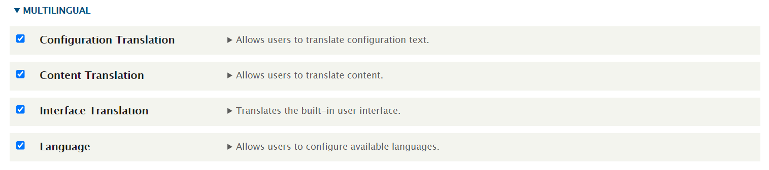 enabling all the four multilingual modules